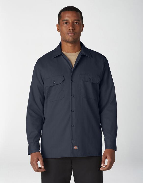 Chemise a manches longues chemise de travail devant solides - Dark Navy (DN)