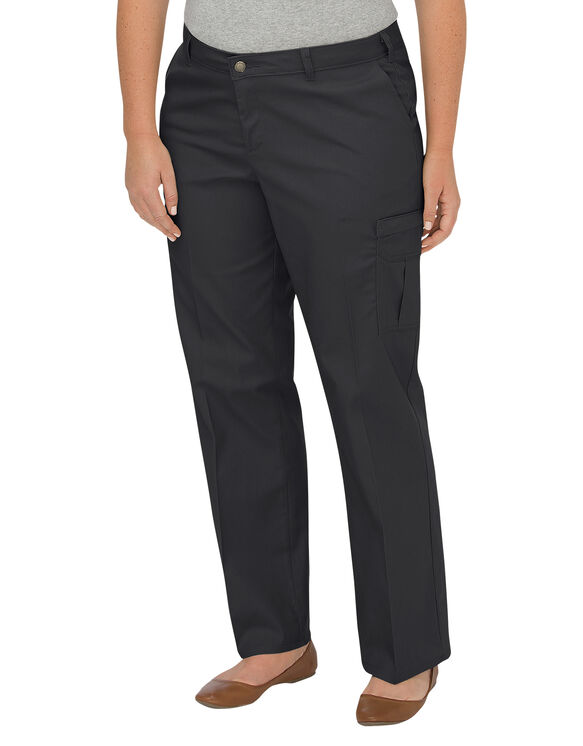 Women's Premium Relaxed Straight Cargo Pants (Plus) - Black (BK)