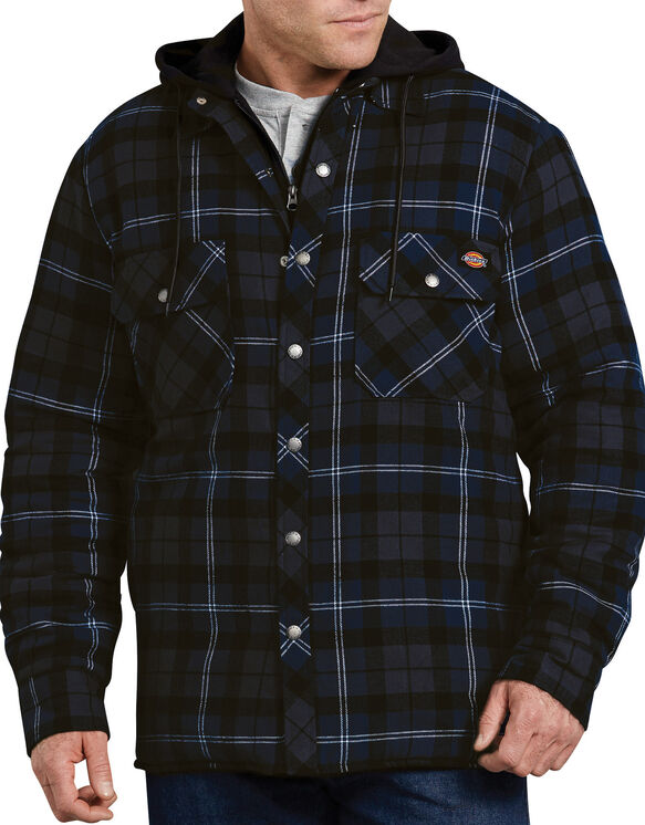 Relaxed Fit Icon Hooded Quilted Shirt Jacket - Dark Blue Gray Plaid (PNH)