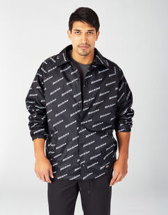 Dickies Multi-Print Nylon Coaches Jacket - Black White Logo Print (LPL)