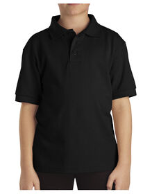 Kids' Short Sleeve Pique Polo Shirt, 8-20 - Black (BK)