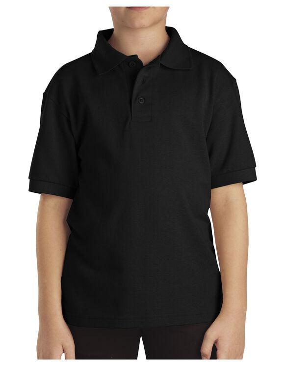 Kids' Short Sleeve Pique Polo Shirt, 8-20 - Black (BK)