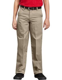Boys' Classic Fit Straight Leg Flat Front Pants, 8-20 - Desert Khaki (DS)