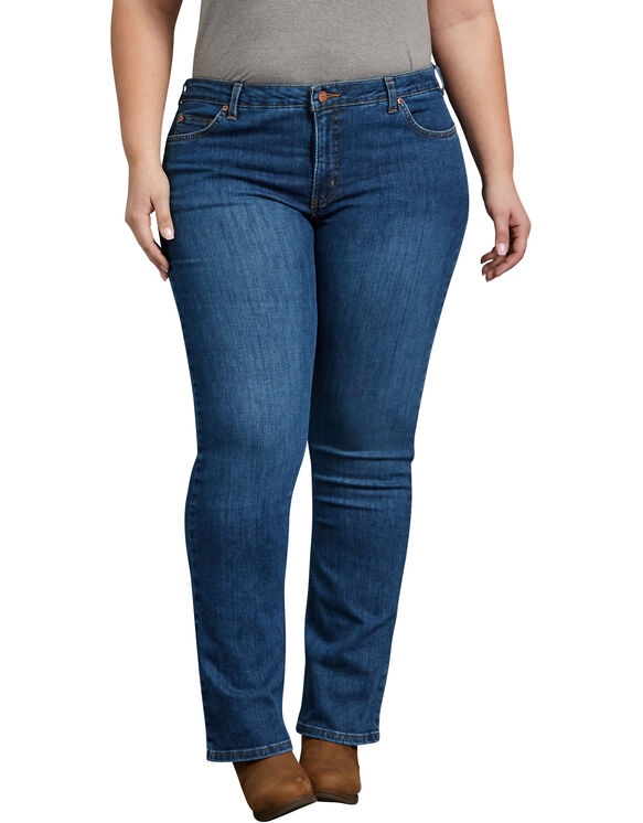 Women's Plus Perfect Shape Bootcut Stretch Denim Jeans - Stonewashed Indigo Blue (SNB)