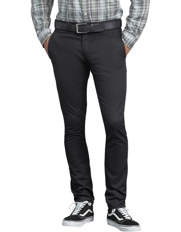 Pantalon de travail en toile croisée à coupe étroite droite - Black (BK)