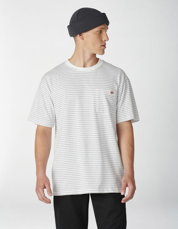 Striped Pocket T-Shirt - White Heather Stripe (HSH)