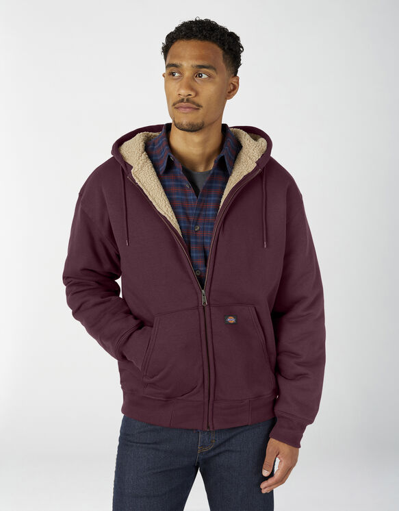 Sherpa Lined Fleece Hoodie - Burgundy (BY)