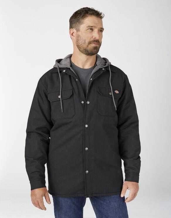 Veste-chemise en coutil avec capuchon en molleton et technologie Hydroshield - Black (BK)
