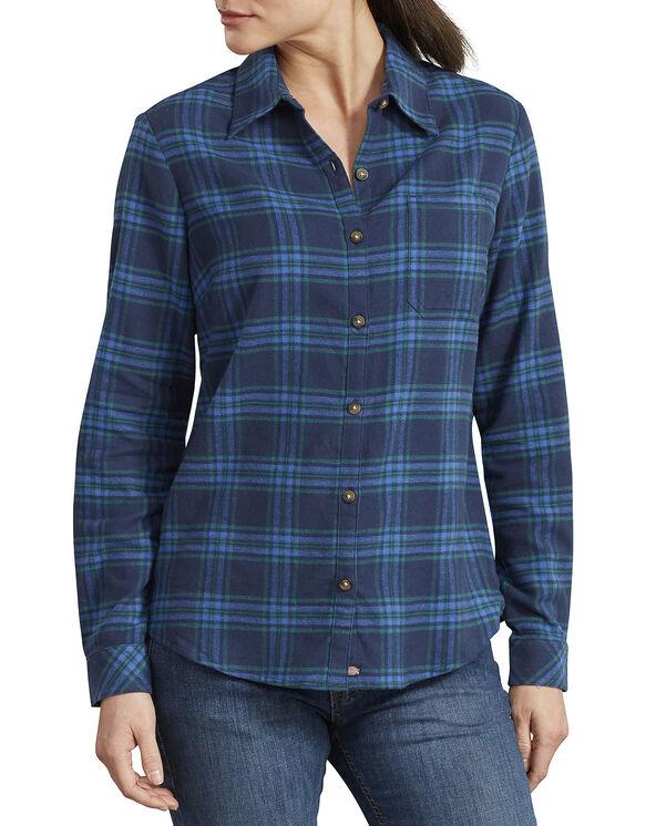 Women's Long Sleeve Plaid Shirt - Navy Ultramarine Plaid (NNP)