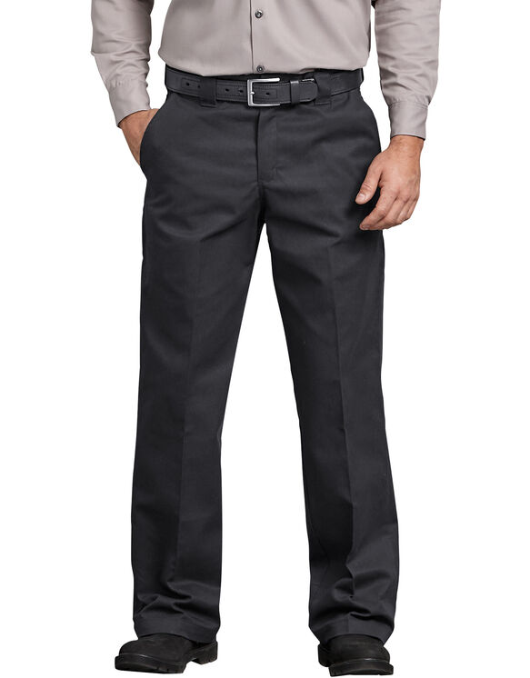 FLEX Relaxed Fit Straight Leg Twill Comfort Waist Pants - Black (BK)