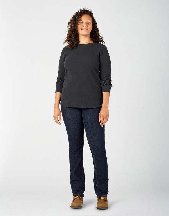 Women's Plus Long Sleeve Crew Neck Thermal Shirt - Black (KBK)