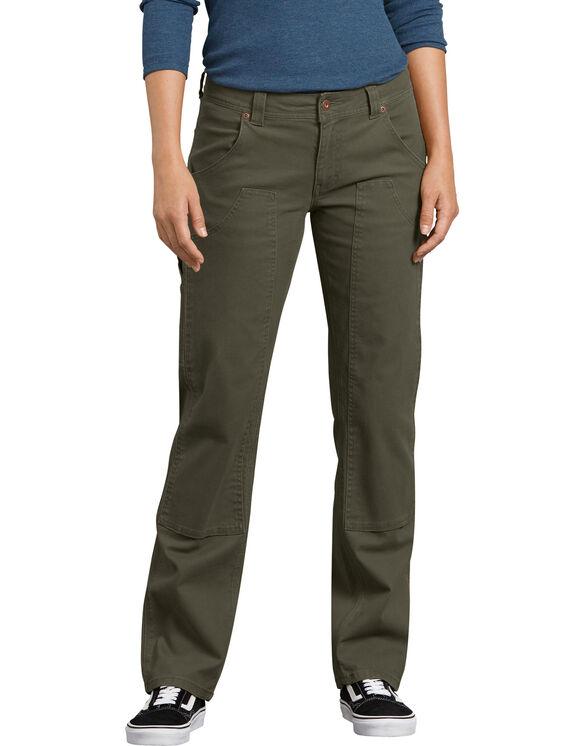 Pantalon menuisier extensible en coutil doublé à l'avant - Moss Green (RMS)