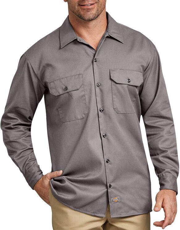 Chemise a manches longues chemise de travail devant solides - Silver (SV)