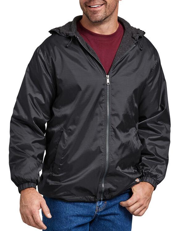 Veste à capuchon en nylon avec doublure en molleton - Noir (BK)