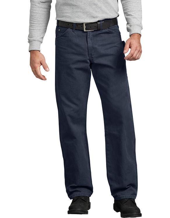 Jeans menuisier à jambe droite et coupe décontractée en coutil brossé - Dark Navy Blue (RDN)