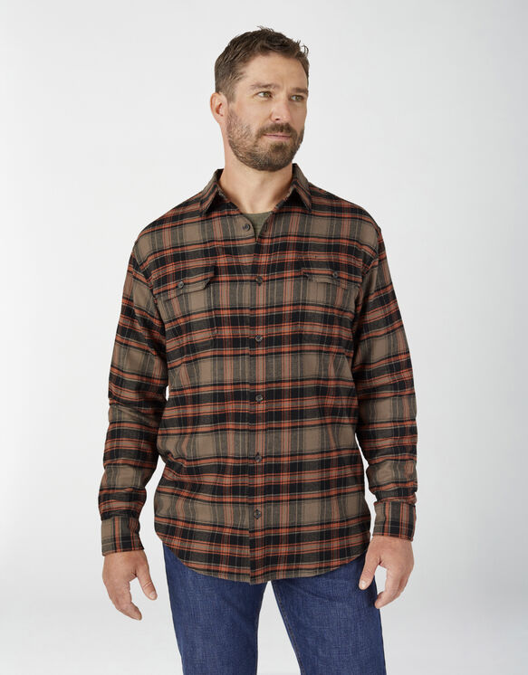 FLEX Long Sleeve Flannel Shirt - Mushroom Auburn Plaid (P1H)