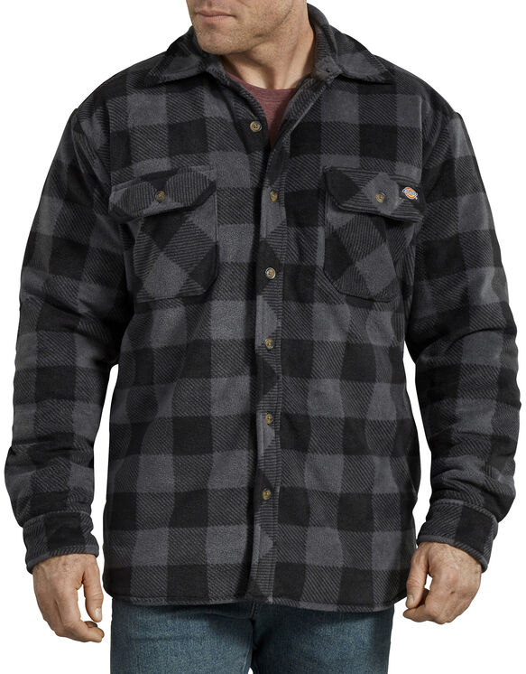 Relaxed Fit Icon Micro Fleece Quilted Shirt Jacket - Slate Black Plaid (LPP)
