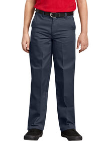 Boys' Classic Fit Straight Leg Flat Front Pants, 8-20 - Dark Navy (DN)