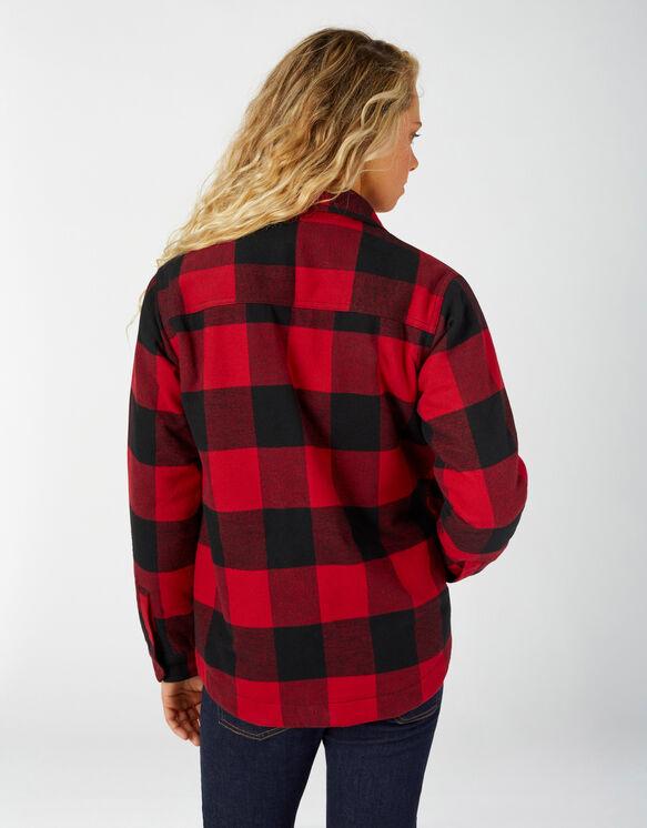 Women's Sherpa Lined Flannel Chore Coat - English Red Black Buffalo Plai (PSF)