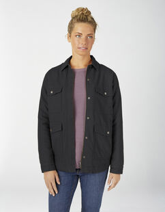 Women's Sherpa Lined Duck Chore Coat - Rinsed Black (RBKX)