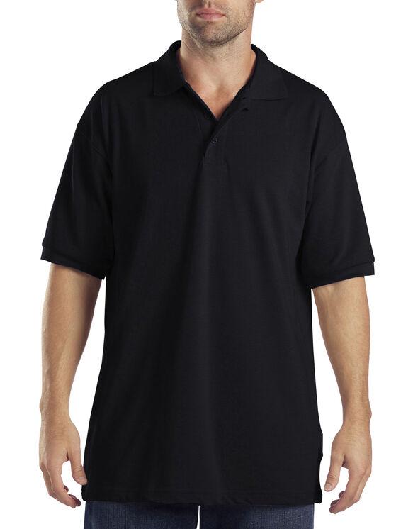 Adult Sized Short Sleeve Pique Polo Shirt - Black (BK)
