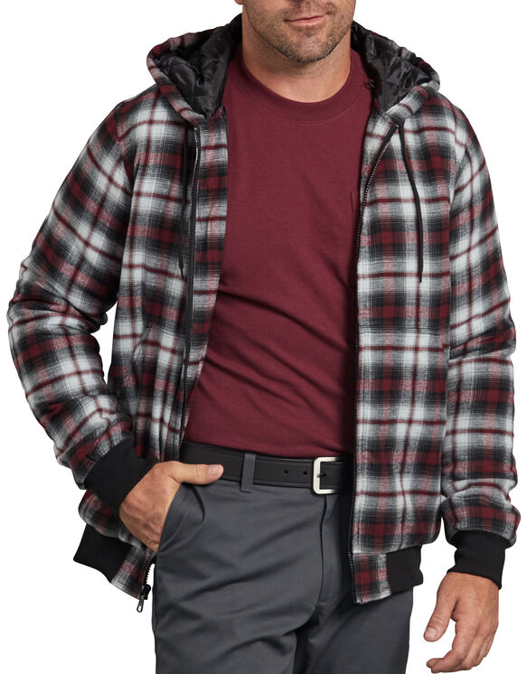 Dickies X-Series Modern Fit Quilted Bomber Shirt Jacket - Light Gray Burgundy Plaid (XYP)