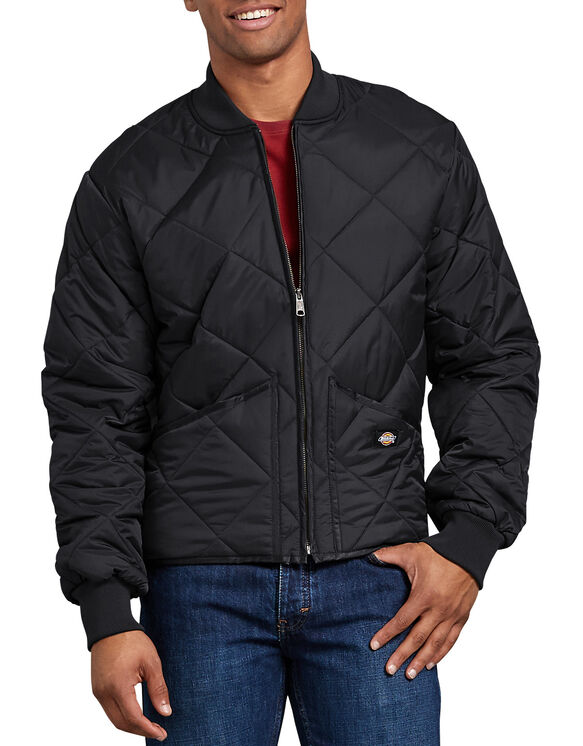 Diamond Quilted Nylon Jacket - BLACK (BK)