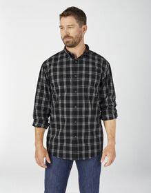 FLEX Relaxed Fit Long Sleeve Plaid Shirt - Black Plaid (BPK)