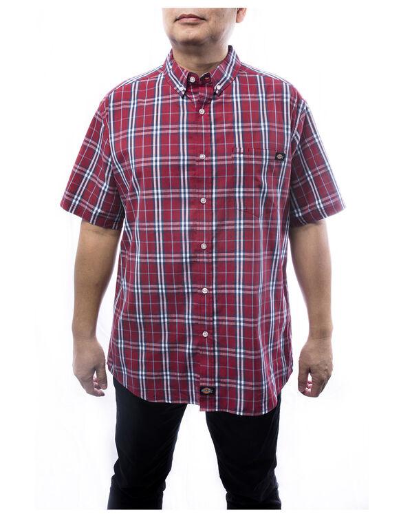 Men's Plaid Button Up Shirt - Red (RD)