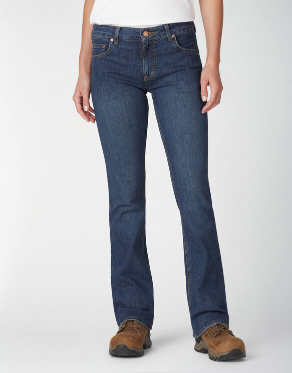 Women's Perfect Shape Bootcut Stretch Denim Jeans - Stonewashed Indigo Blue (SNB)