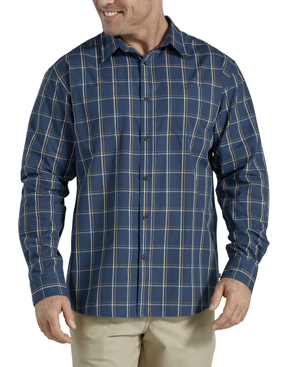 Relaxed Fit Icon Long Sleeve Rinsed Plaid Shirt - Insignia Blue Yellow Plaid (UOP)