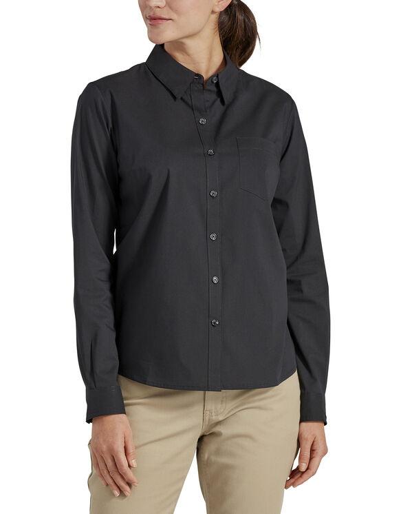 Women's Long Sleeve Poplin Stretch Work Shirt - Black (BK)