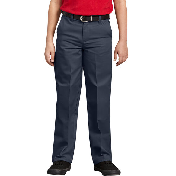 Boys' Classic Fit Straight Leg Flat Front Pants, 4-7 - Dark Navy (DN)