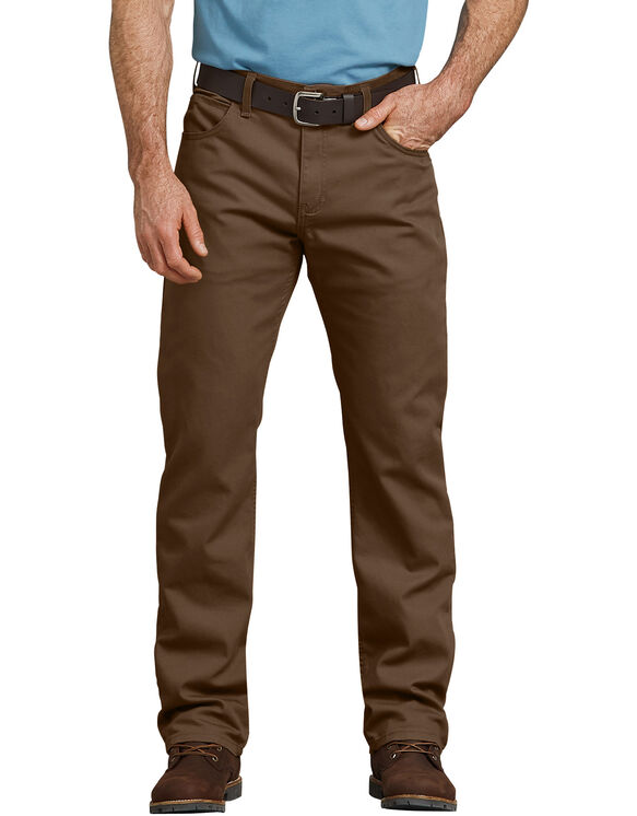 FLEX Regular Fit Straight Leg Tough Max™ Duck 5-Pocket Pants - Stonewashed Timber Brown (STB)