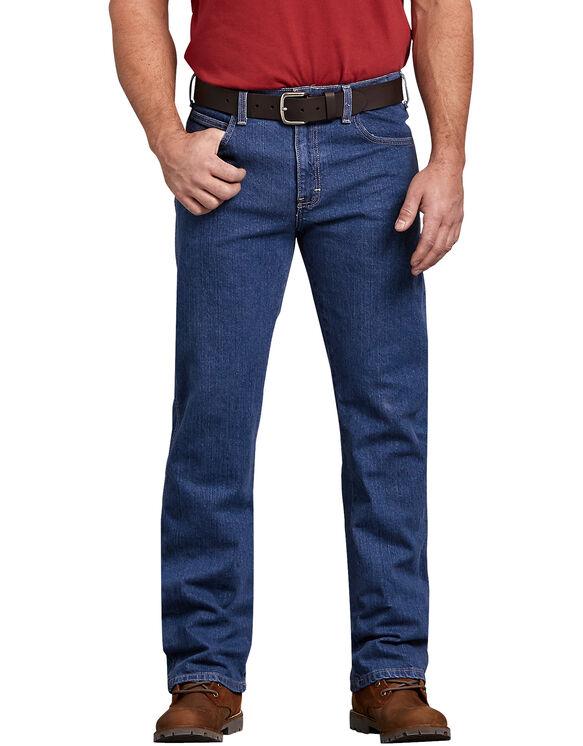 Flex Regular Fit Straight Leg 5-Pocket Denim Jean - Stonewashed Indigo Blue (FSI)