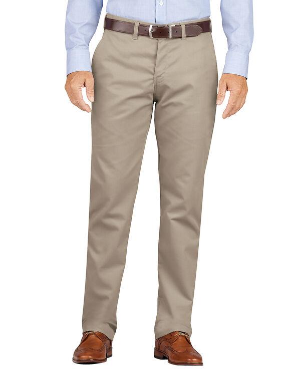 Slim Fit Tapered Leg Flat Front Khaki Pants - Desert Khaki (RDS)