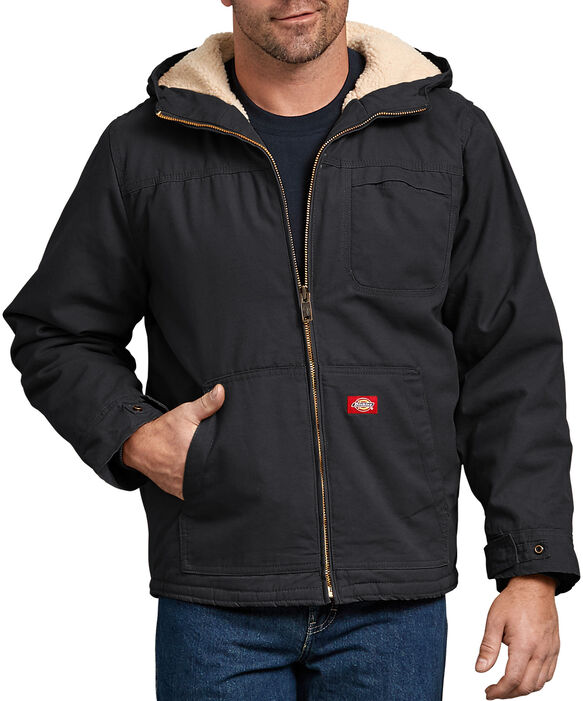 Duck Sherpa Lined Hooded Jacket - Rinsed Black (RBK)