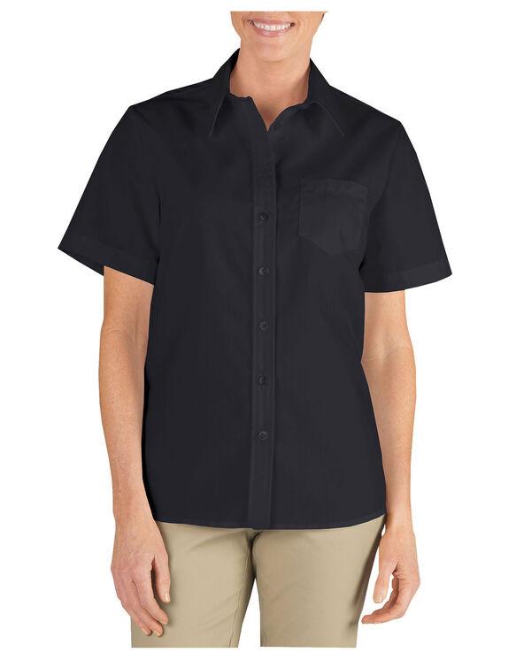 Chemise à manches courtes en popeline extensible pour femmes - Black (BK)