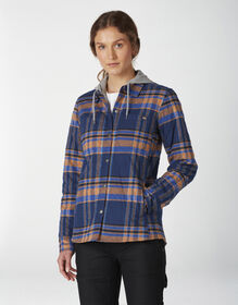 Women's Flannel Hooded Shirt Jacket - Deep Blue (OP2)