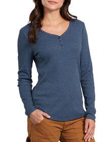 Women's Long Sleeve Henley Shirt - Dark Denim Blue (DMD)