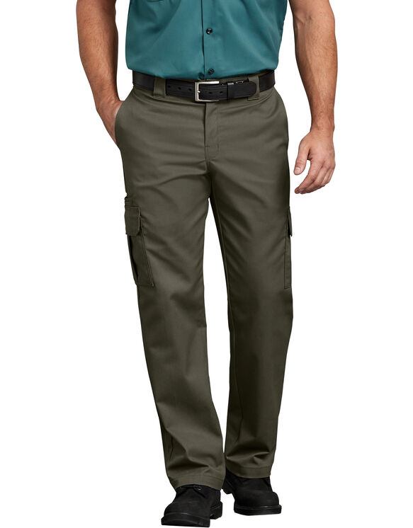 FLEX Regular Fit Straight Leg Cargo Pants - Moss Green (MS)