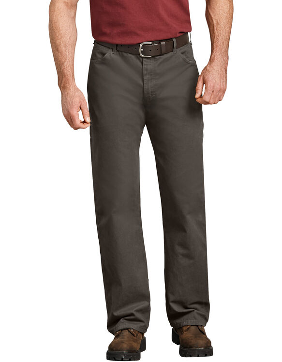 Jeans menuisier décontracté à jambe droite en coutil - Olive Green (RBV)