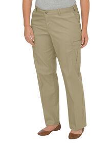 Pantalon cargo décontracté de qualité supérieure à jambe droite pour femmes (Plus) - Sable du désert (DS)
