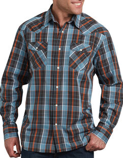 Relaxed Fit Icon Long Sleeve Plaid Western Shirt - Blue Orange Plaid (RWLN)