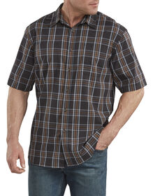 FLEX Icon Relaxed Fit Short Sleeve Shirt - Black Plaid (RBAP)