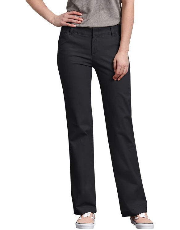 Women's Relaxed Straight Stretch Twill Pants - Black (BK)