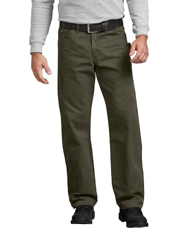 Jeans menuisier à jambe droite et coupe décontractée en coutil brossé - Moss Green (RMS)