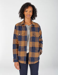 Women's Sherpa Lined Flannel Chore Coat - Brown Duck Navy Buffalo Plaid (PBF)