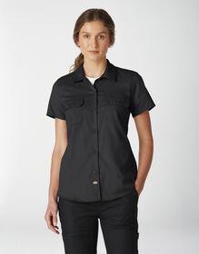 Women's FLEX Short Sleeve Work Shirt - Black (BK)