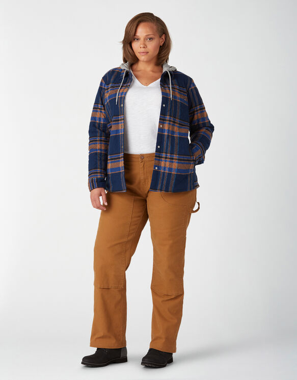 Women's Plus Flannel Hooded Shirt Jacket - Deep Blue (OP2)